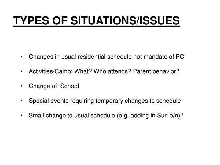 TYPES OF SITUATIONS/ISSUES