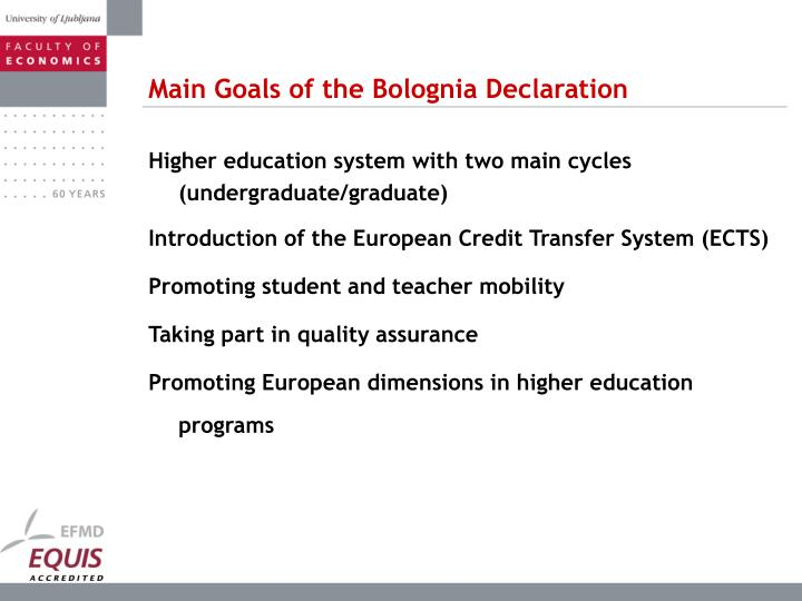 Main Goals of the Bolognia Declaration