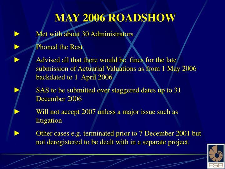 MAY 2006 ROADSHOW