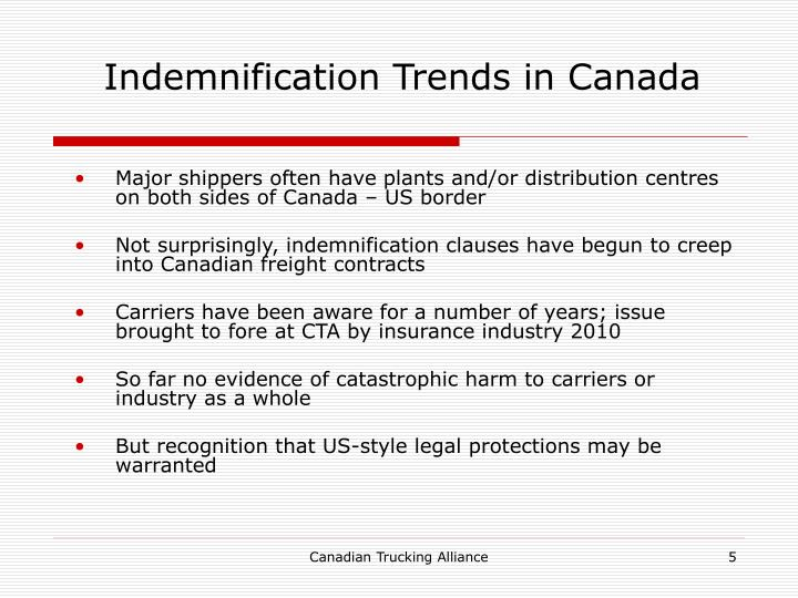 Indemnification Trends in Canada