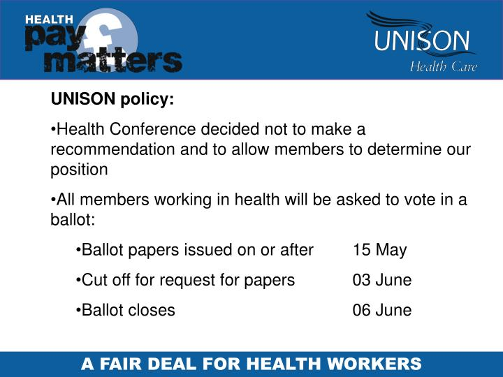 UNISON policy: