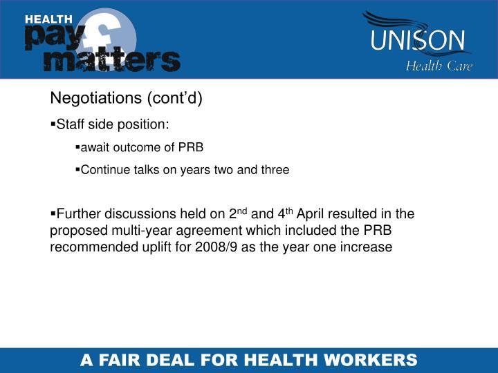 Negotiations (cont'd)