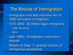the revival of immigration