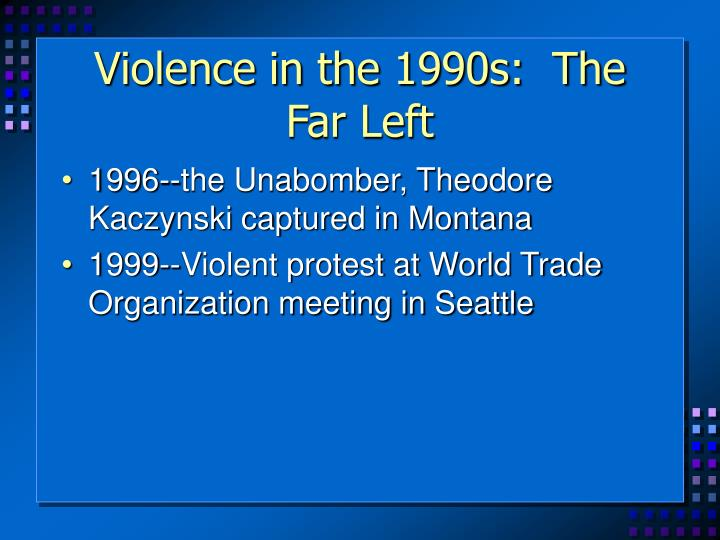 Violence in the 1990s:  The Far Left