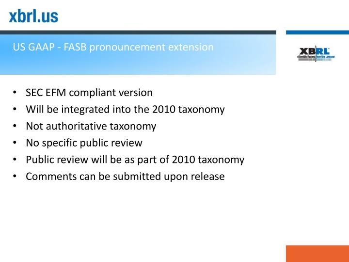 US GAAP - FASB pronouncement extension