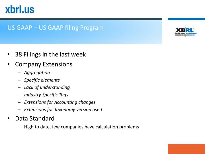 Us gaap us gaap filing program