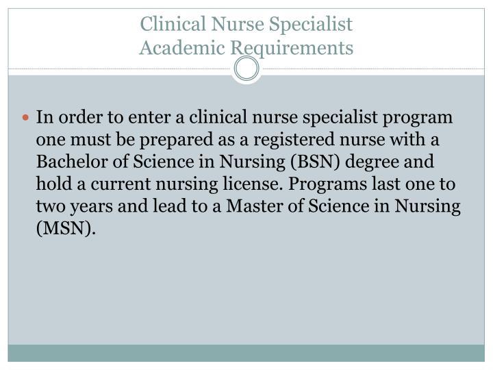 Clinical Nurse Specialist