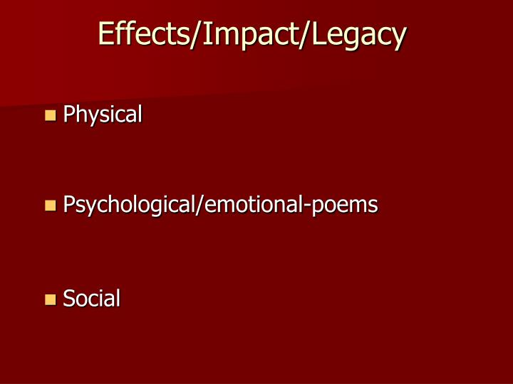 Effects/Impact/Legacy