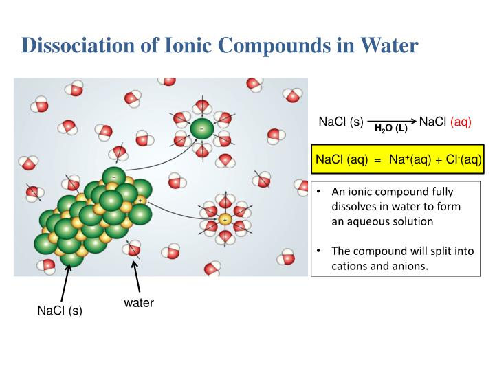 Dissociation of Ionic Compounds in Water