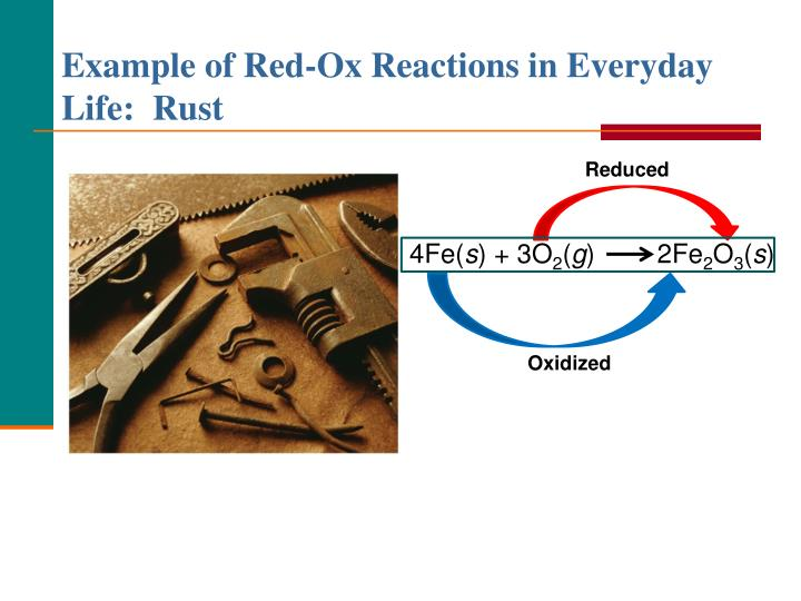 Example of Red-Ox Reactions in Everyday Life:  Rust