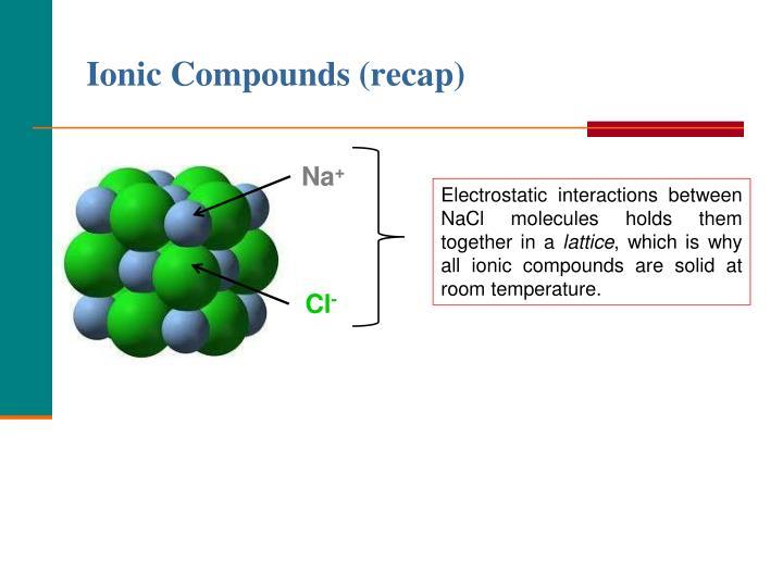Ionic Compounds (recap)