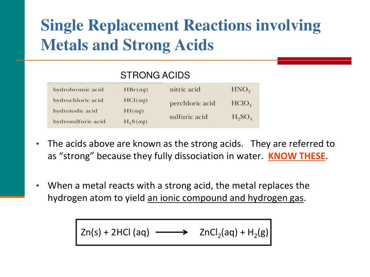 Single Replacement Reactions involving Metals and Strong Acids