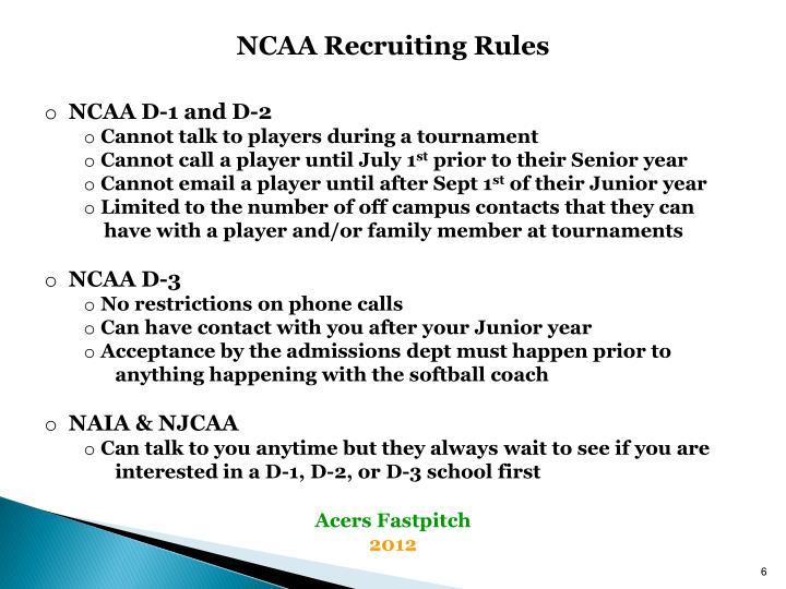 NCAA Recruiting Rules