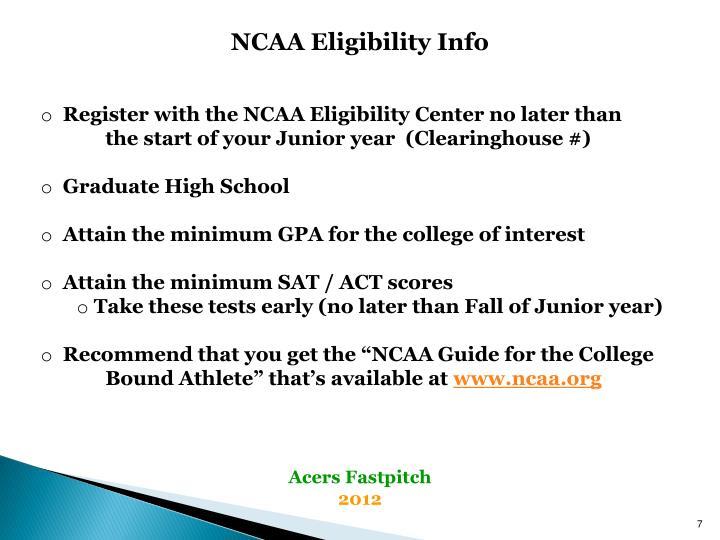 NCAA Eligibility Info