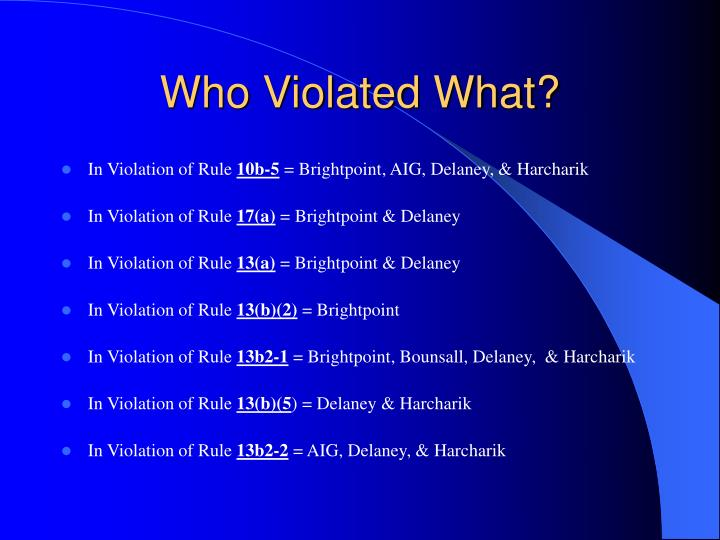 Who Violated What?