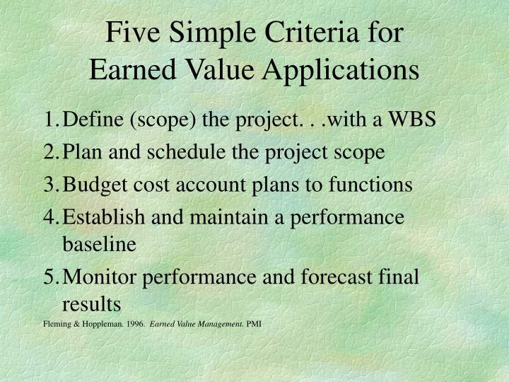 Five Simple Criteria for