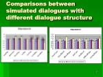 comparisons between simulated dialogues with different dialogue structure