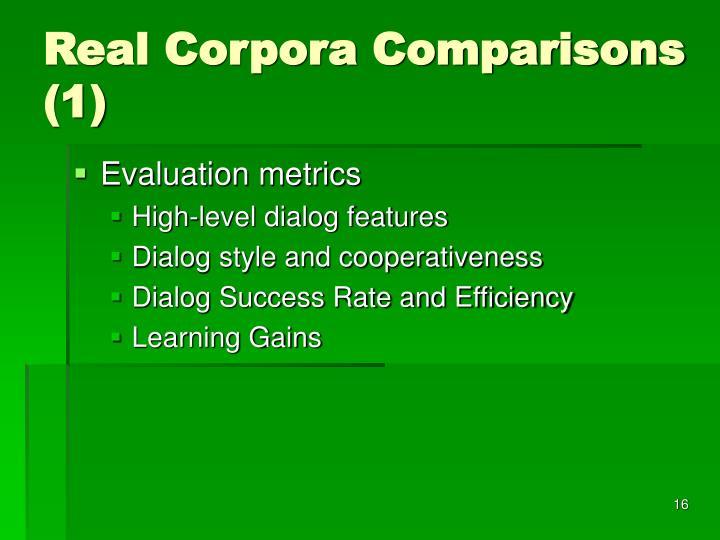 Real Corpora Comparisons (1)
