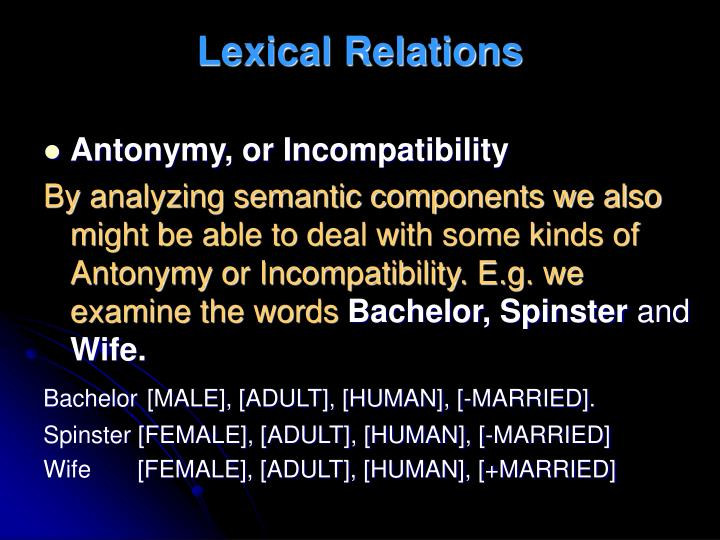 Lexical Relations