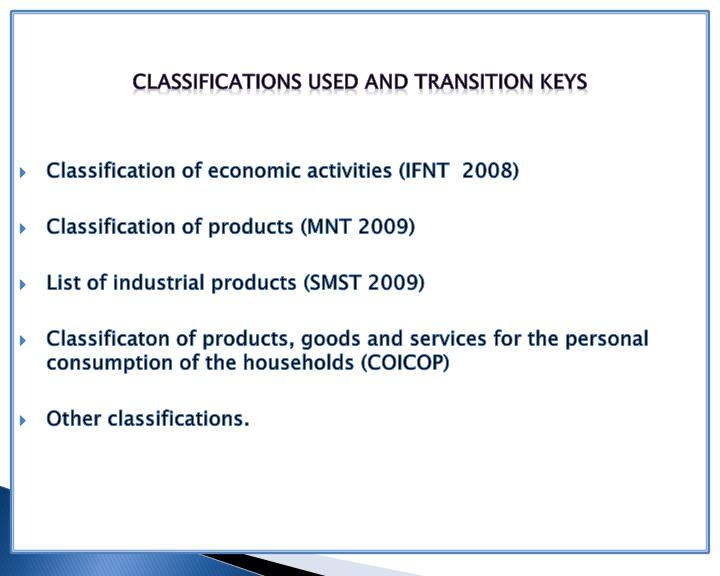 Classifications used and transition Keys