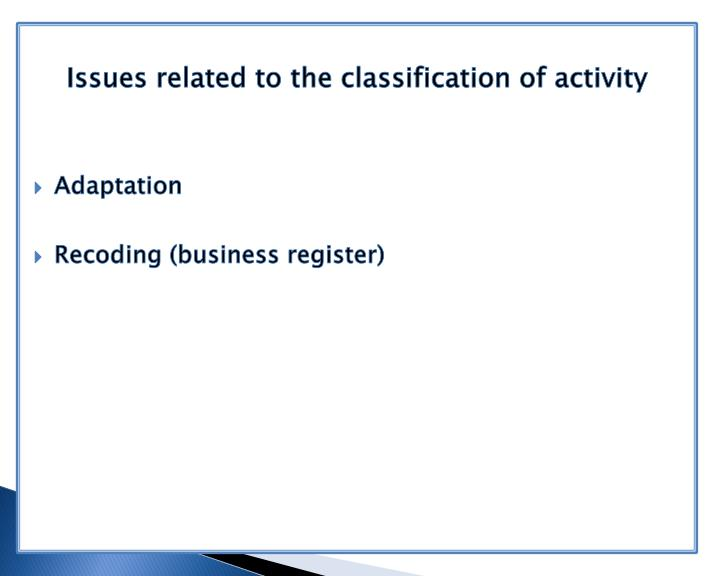 Issues related to the classification of activity