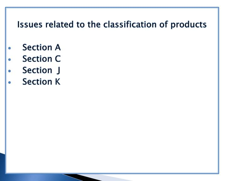 Issues related to the classification of