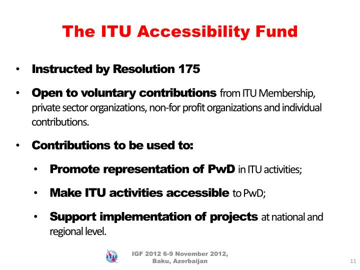 The ITU Accessibility Fund