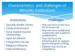 characteristics and challenges of minority institutions