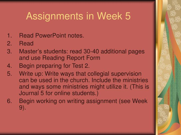 Assignments in Week 5