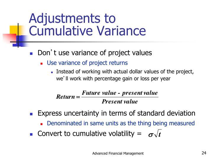 Adjustments to