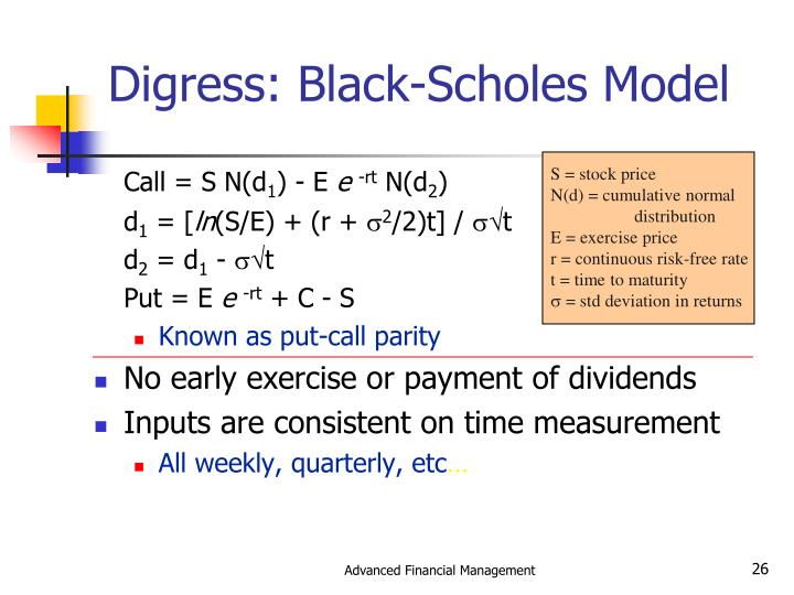 Digress: Black-Scholes Model