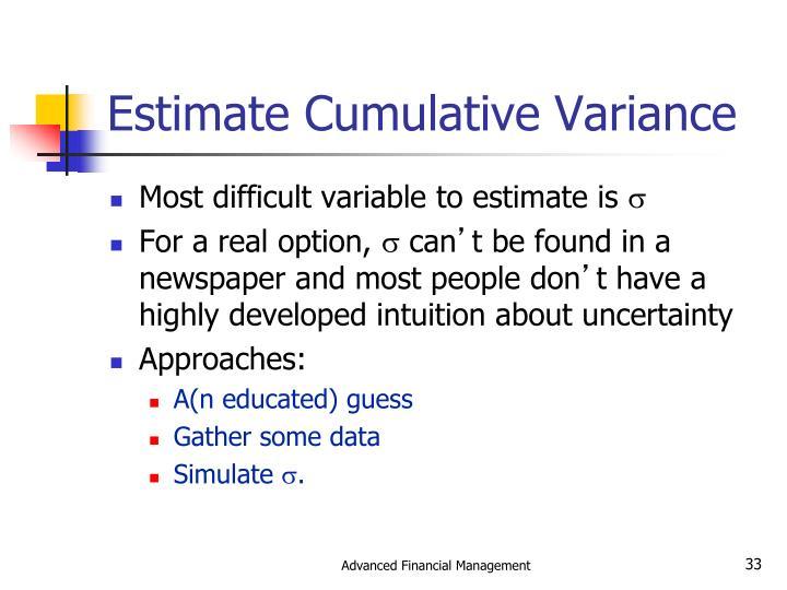 Estimate Cumulative Variance