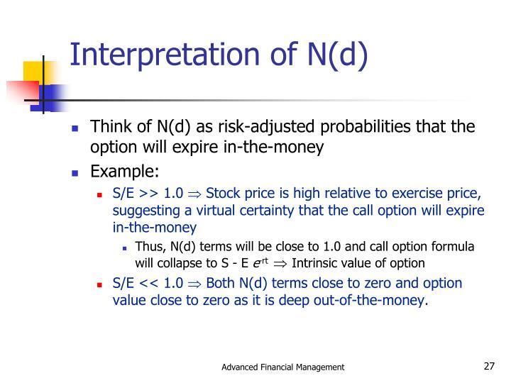 Interpretation of N(d)