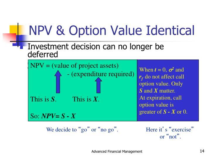 NPV & Option Value Identical