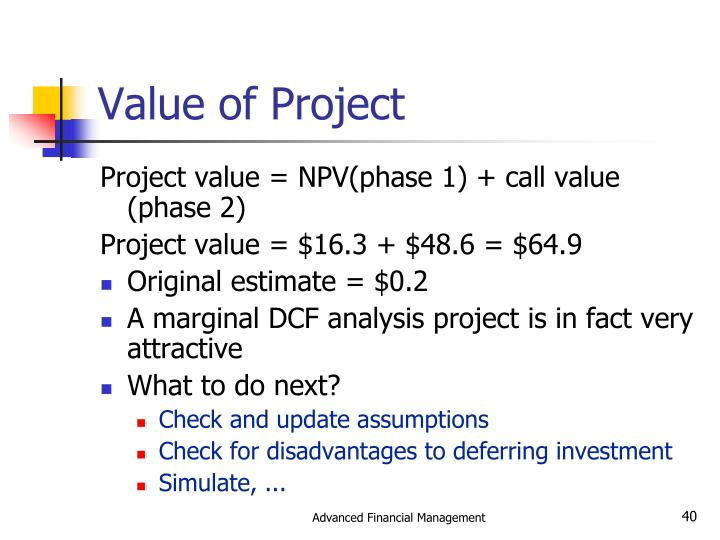 Value of Project