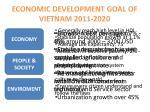 economic development goal of vietnam 2011 2020