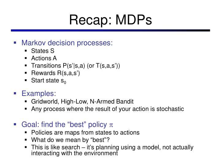 Recap: MDPs