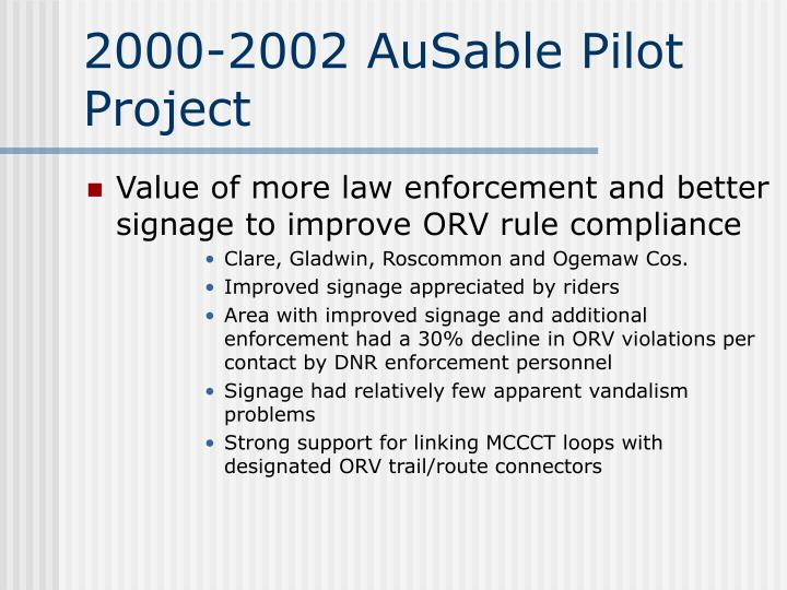 2000-2002 AuSable Pilot Project