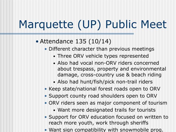 Marquette (UP) Public Meet