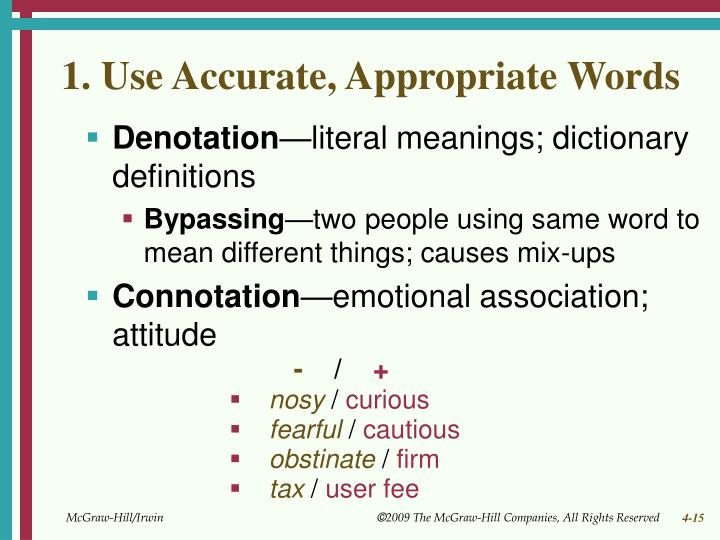 1. Use Accurate, Appropriate Words