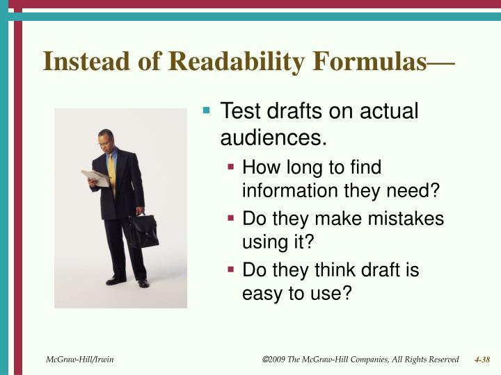 Instead of Readability Formulas—