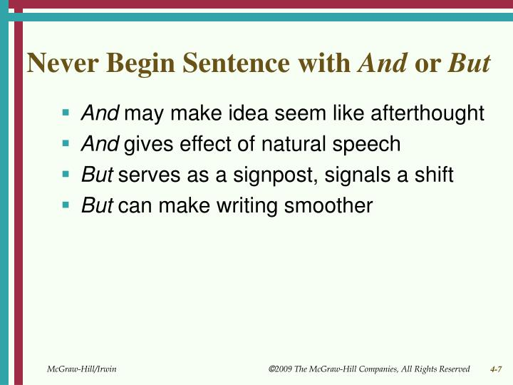 Never Begin Sentence with