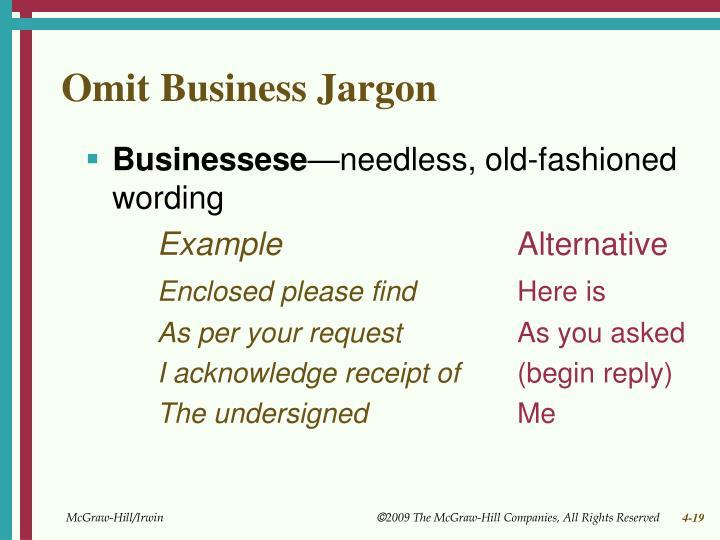 Omit Business Jargon