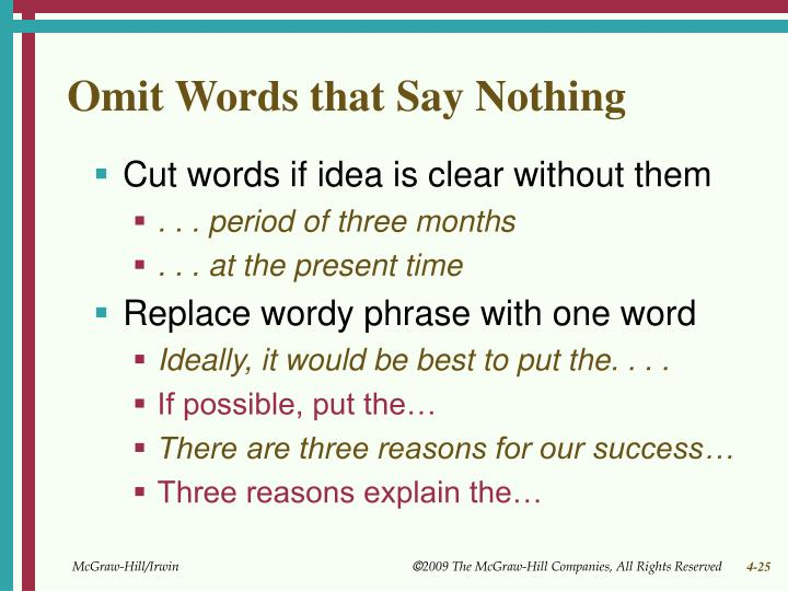 Omit Words that Say Nothing