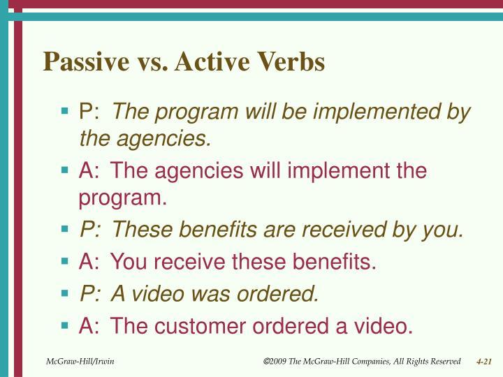 Passive vs. Active Verbs