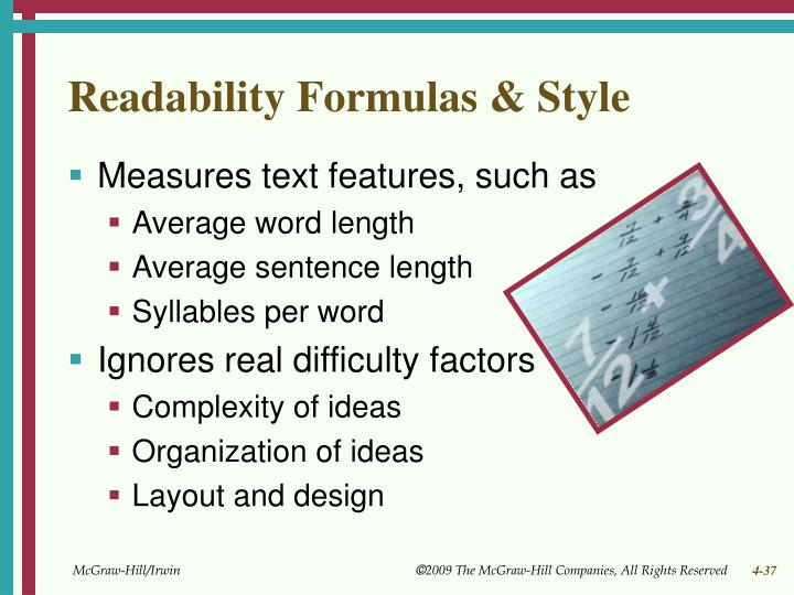 Readability Formulas & Style