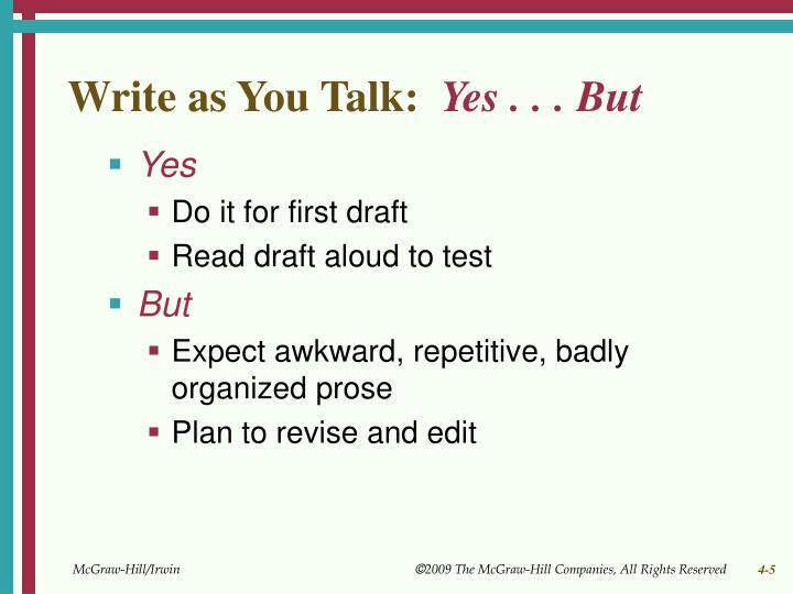 Write as You Talk: