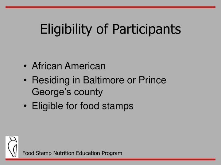 Eligibility of Participants
