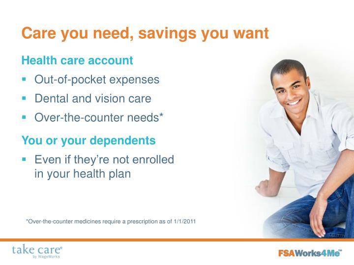 Care you need, savings you want