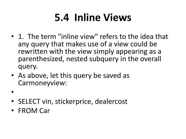 5.4  Inline Views
